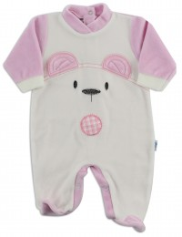 Chenille baby footie image of the white bear. Colour pink, size 6-9 months