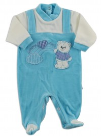 Picture baby footie chenille baby bear rainbow heart. Colour turquoise, size 6-9 months