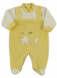 Image baby footie chenille star star. Colour yellow, size 3-6 months