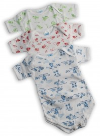 Half-sleeved printed cotton body image. Colour light blue, size 6-9 months