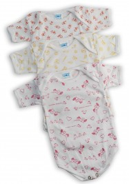 Half-sleeved printed cotton body image. Colour pink, size 6-9 months