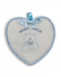 Birth rosette image above cotton heart. Colour light blue, one size