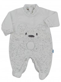 Chenille baby footie image of the melange bear. Colour white, size 6-9 months