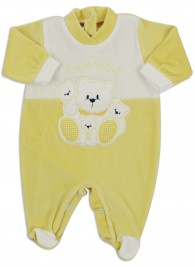 Baby footie image in chenille very tender. Colour yellow, size 0-1 month