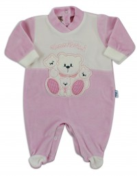 Baby footie image in chenille very tender. Colour pink, size 1-3 months
