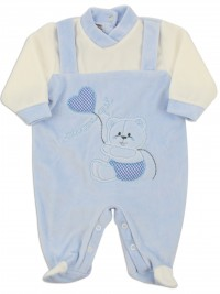 Picture baby footie chenille here I am. Colour light blue, size 6-9 months