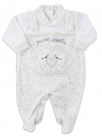 Picture baby chenille footie small bears. Colour white, size 3-6 months