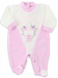 Picture baby footie chenille little friends. Colour pink, size 6-9 months