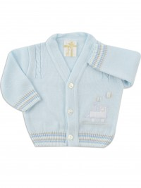 layette jacket mixed wool locomotive. Colour light blue, size 0-1 month
