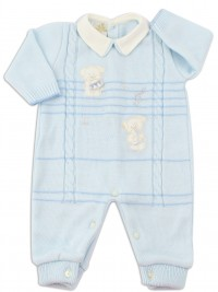 Picture baby footie mixed wool puppies musicians. Colour light blue, size 1-3 months