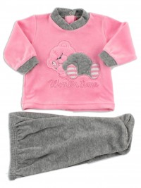 Picture baby footie outfit in chenille winter time. Colour coral pink, size 1-3 months