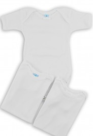 Image: cotton half sleeve bodysuit. Colour white, size 6-9 months