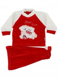 Baby footie outfit image in chenille sweet love. Colour red, size 0-1 month