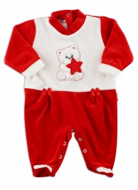 Picture baby footie in chenille baby bear and star. Colour red, size 6-9 months