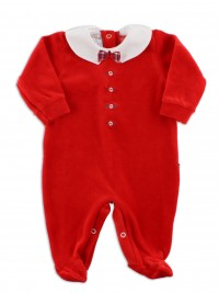 Picture baby footie in chenille bow tie. Colour red, size 1-3 months