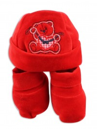 red chenille baby bear hat and shoes. Colour red, one size