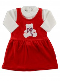 baby footie outfit chenille baby bear bow. Colour red, size 6-9 months
