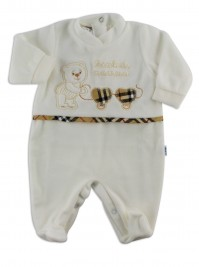 baby footie little chenille of mom. Colour creamy white, size 1-3 months