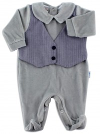 baby footie chenille woven vest. Colour grey, size first days