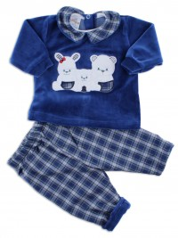 Picture baby footie outfit in chenille friends in partying. Colour blue, size 1-3 months