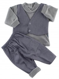 Picture baby footie chenille outfit fabric vest. Colour grey, size 6-9 months