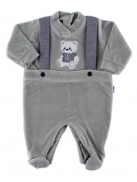 Picture baby footie in chenille baby bear elegant. Colour grey, size 1-3 months