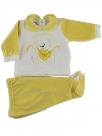 Picture baby footie outfit chenille pamper me. Colour yellow, size 0-1 month