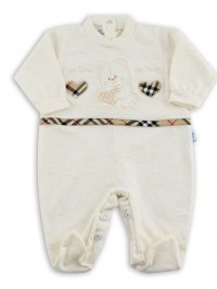 Image cotton baby footie jersey my love and .... Colour creamy white, size 3-6 months
