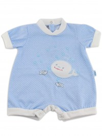 Image baby footie breaker whale. Colour light blue, size 1-3 months