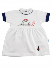 Picture baby footie marine cotton dress up. Colour white, size 3-6 months