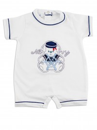 Image baby footie romper navy. Colour white, size 0-1 month