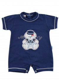 Image baby footie romper navy. Colour blue, size 0-1 month