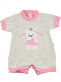 Picture baby footie romper little teddy bear. Colour grey, size 0-1 month