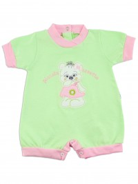 Picture baby footie romper little teddy bear. Colour pistacchio green, size 0-1 month