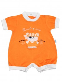 Picture baby footie romper little pirate. Colour orange, size 3-6 months