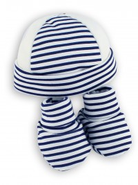 Image hat and shoes cotton stripes. Colour blue, one size
