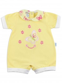 Image baby footie romper butterfly. Colour yellow, size 6-9 months
