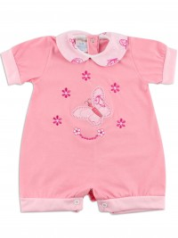Image baby footie romper butterfly. Colour coral pink, size 6-9 months