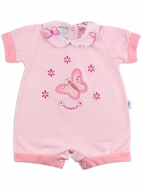 Image baby footie romper butterfly. Colour pink, size 0-1 month