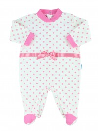 Image cotton baby footie interlock polka dots. Colour pink, size 6-9 months