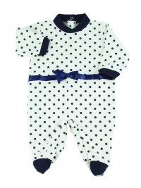 Image cotton baby footie interlock polka dots. Colour blue, size 6-9 months
