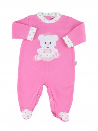 cotton baby footie interlock dancer. Colour coral pink, size 3-6 months