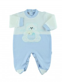 cotton baby footie interlock baby bear. Colour light blue, size 6-9 months