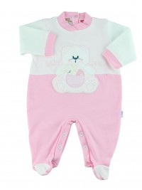 Image cotton baby footie interlock baby bear. Colour pink, size 3-6 months
