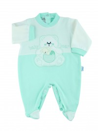 cotton baby footie interlock baby bear. Colour green, size 6-9 months