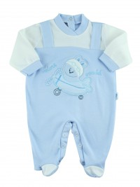 Image cotton baby footie interlock fly ooohhh. Colour light blue, size 3-6 months