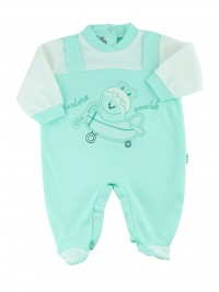 cotton baby footie interlock fly ooohhh. Colour green, size 6-9 months