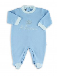Image cotton baby footie interlock little princes. Colour light blue, size 6-9 months