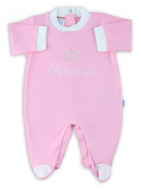 Image cotton baby footie interlock little princes. Colour pink, size 6-9 months