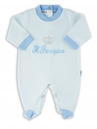 Picture baby footie interlock little cream princes. Colour light blue, size 6-9 months